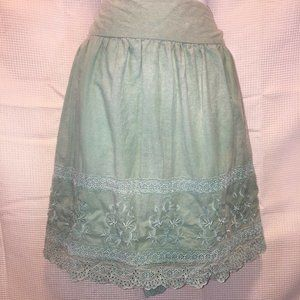 Romy Collection womans XLarge skirt  green embroid